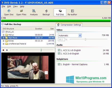 Скриншот программы DVD Shrink для Windows 10