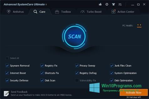 Скриншот программы Advanced SystemCare Ultimate для Windows 10