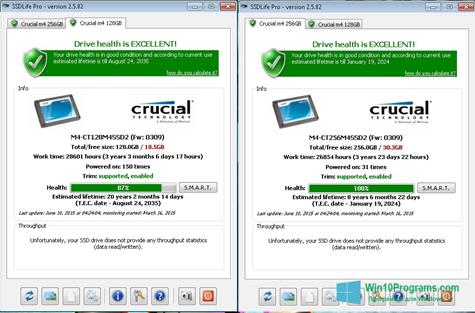 Скриншот программы SSDLife для Windows 10