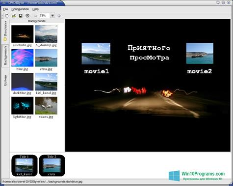 Скриншот программы DVDStyler для Windows 10