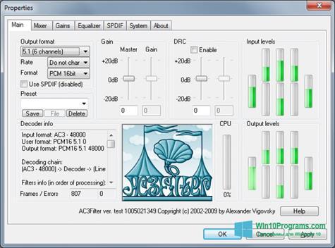 Скриншот программы AC3Filter для Windows 10