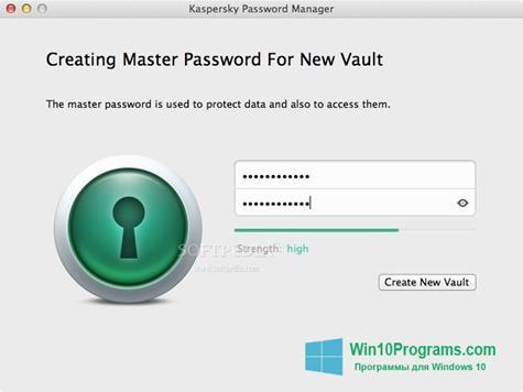 Скриншот программы Kaspersky Password Manager для Windows 10