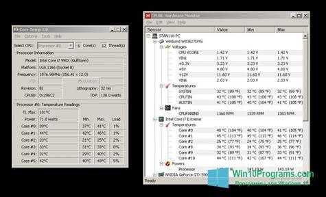 Скриншот программы Core Temp для Windows 10