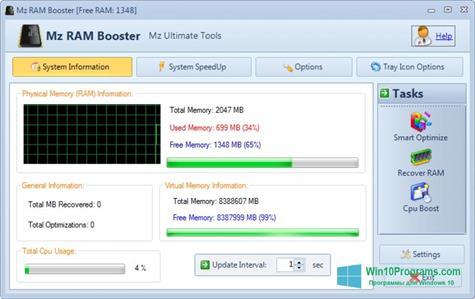 Скриншот программы CpuBoost для Windows 10