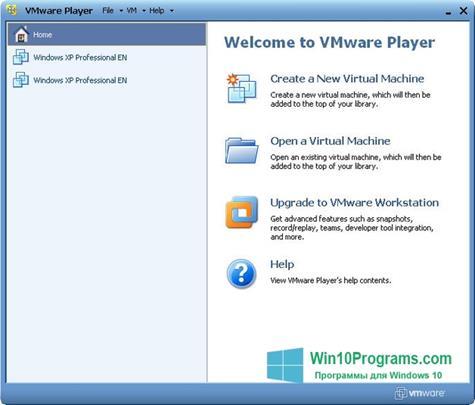 Скриншот программы VMware Player для Windows 10