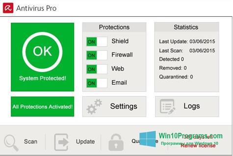 Скриншот программы Avira Antivirus Pro для Windows 10