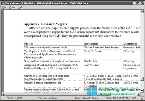 Скриншот программы DocX Viewer для Windows 10