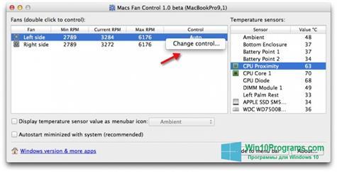 Скриншот программы Macs Fan Control для Windows 10