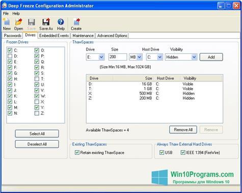 Скриншот программы Deep Freeze для Windows 10