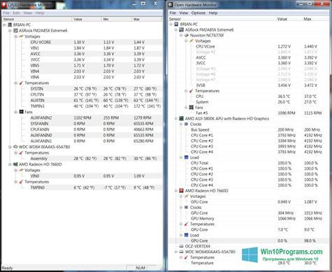 Скриншот программы Open Hardware Monitor для Windows 10