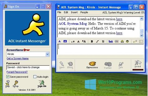 Скриншот программы AOL Instant Messenger для Windows 10