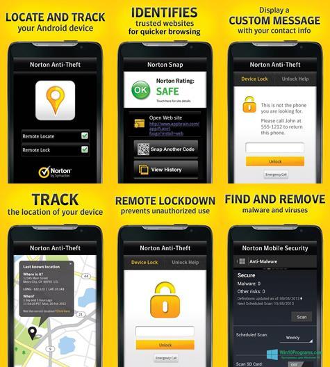 Скриншот программы Norton Mobile Security для Windows 10