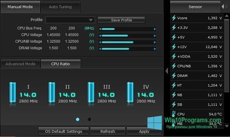 Скриншот программы TurboV EVO для Windows 10