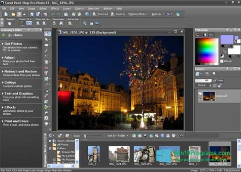 Скриншот программы PaintShop Pro для Windows 10