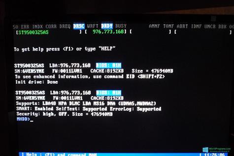 Скриншот программы MHDD для Windows 10