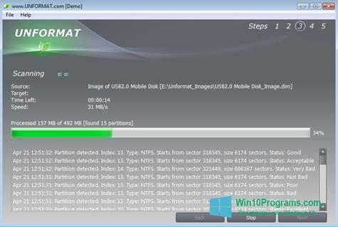 Скриншот программы UNFORMAT для Windows 10