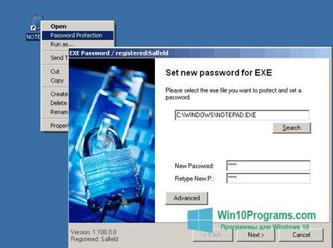 Скриншот программы EXE Password для Windows 10