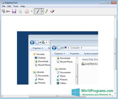 Скриншот программы Snipping Tool для Windows 10