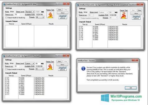Скриншот программы CPU Stress Test для Windows 10