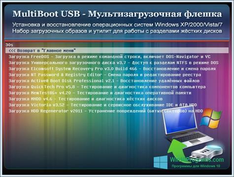 Скриншот программы MultiBoot USB для Windows 10