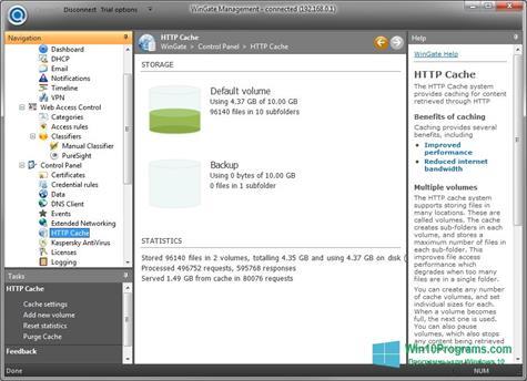 Скриншот программы WinGate для Windows 10