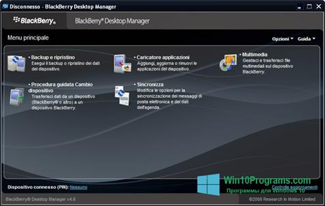 Скриншот программы BlackBerry Desktop Manager для Windows 10