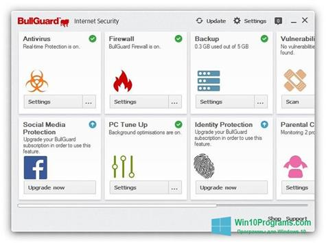 Скриншот программы BullGuard Internet Security для Windows 10