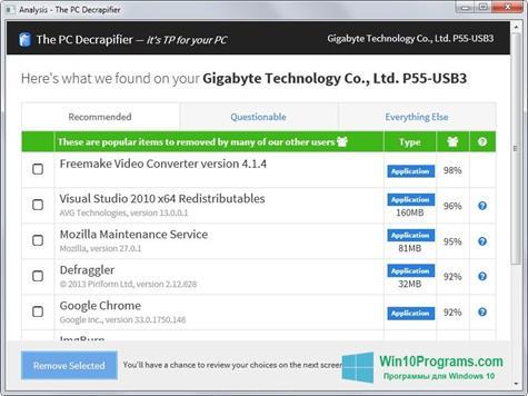 Скриншот программы PC Decrapifier для Windows 10