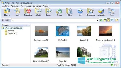 Скриншот программы WinZip для Windows 10