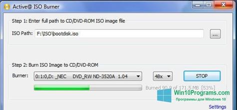 Скриншот программы ISO Burner для Windows 10