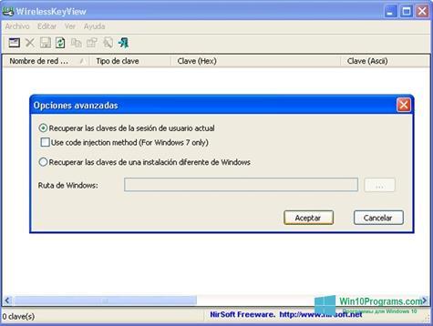 Скриншот программы WirelessKeyView для Windows 10