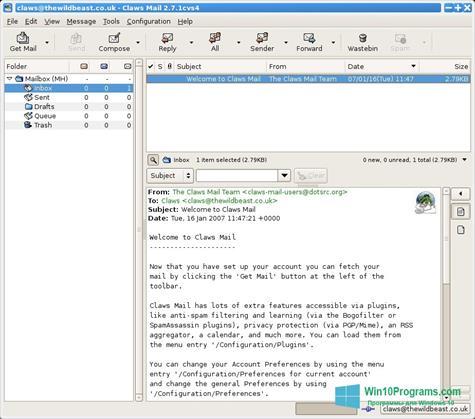 Скриншот программы Claws Mail для Windows 10