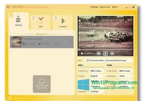 Скриншот программы Hamster Free Video Converter для Windows 10
