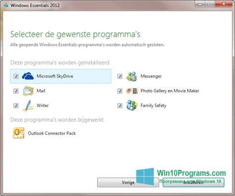 Скриншот программы Windows Live Essentials для Windows 10