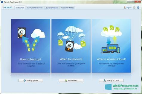 Скриншот программы Acronis True Image для Windows 10