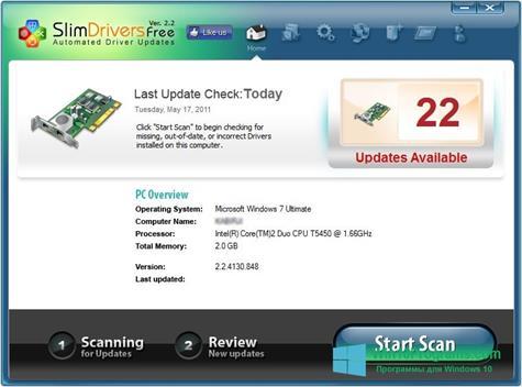 Скриншот программы SlimDrivers для Windows 10