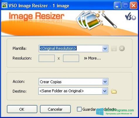 Скриншот программы VSO Image Resizer для Windows 10
