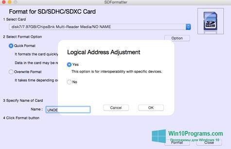 Скриншот программы Sdformatter для Windows 10