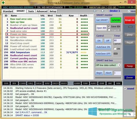 Скриншот программы Victoria для Windows 10