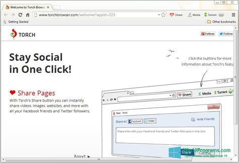Скриншот программы Torch Browser для Windows 10