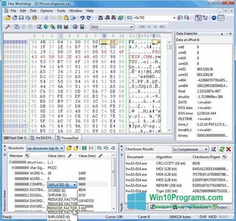 Скриншот программы Hex Workshop для Windows 10