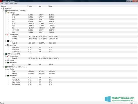 Скриншот программы HWMonitor для Windows 10