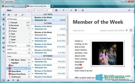 Скриншот программы OperaMail для Windows 10