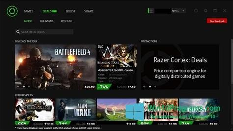 Скриншот программы Razer Cortex для Windows 10