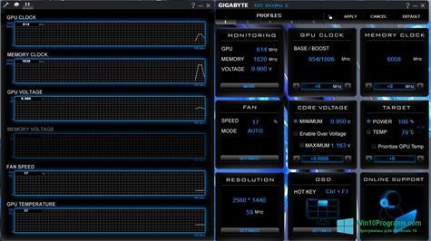 Скриншот программы GIGABYTEOCGuru для Windows 10