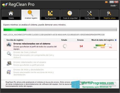 Скриншот программы RegClean Pro для Windows 10