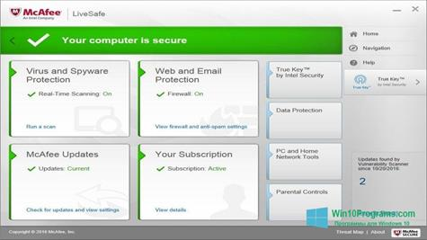 Скриншот программы McAfee LiveSafe для Windows 10