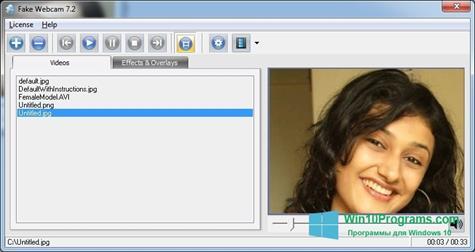 Скриншот программы Fake Webcam для Windows 10
