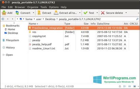 Скриншот программы PeaZip для Windows 10