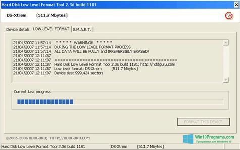 Скриншот программы HDD Low Level Format Tool для Windows 10